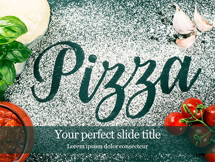 Food & Beverage: Pizzabord Met Bloem Tomatensaus Knoflook En Mozzarella PowerPoint Template #16058