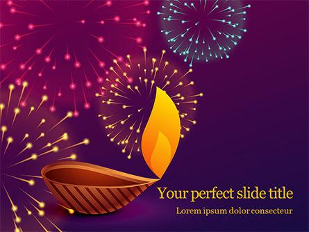 Holiday/Special Occasion: Modelo do PowerPoint - diya tradicional contra o fundo de fogos de artifício de diwali #16063