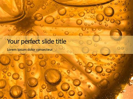 Food & Beverage: Plantilla de PowerPoint gratis - rodaja de naranja en agua con burbujas #16084