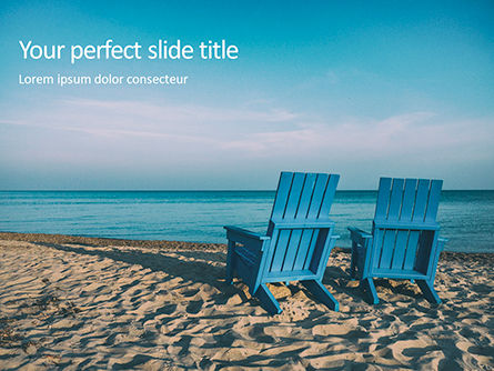 Holiday/Special Occasion: Two Blue Adirondack Chairs on the Beach Presentation #16104