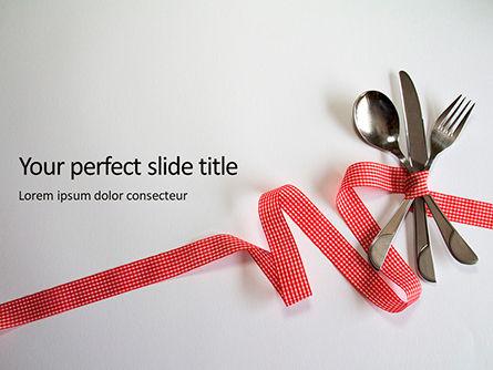 Food & Beverage: Plantilla de PowerPoint gratis - tenedor cuchillo cuchara con cinta roja marcada #16112