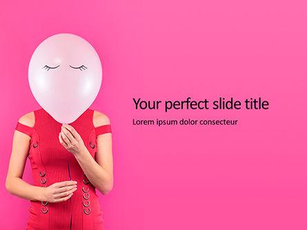 Holiday/Special Occasion: Plantilla de PowerPoint gratis - mujer con globo rosa en lugar de su cara #16117