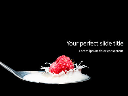 Food & Beverage: Raspberry and Milk Splashing on Spoon on Black Background PowerPoint Template #16127