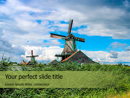 Construction: Traditional Dutch Old Wooden Windmills PowerPoint Template #16131