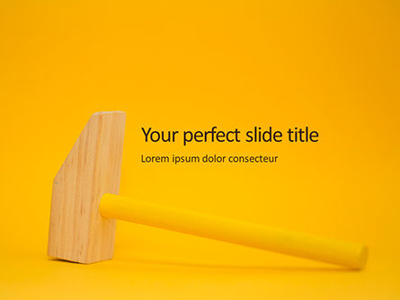 General: wooden mallet hammer on yellow background - 無料PowerPointテンプレート #16133