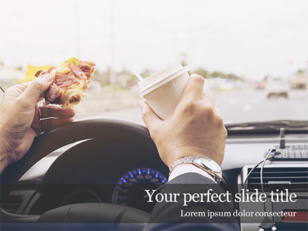 People: Man drinking coffee and eating sandwich while driving a car PowerPoint Vorlage #16141