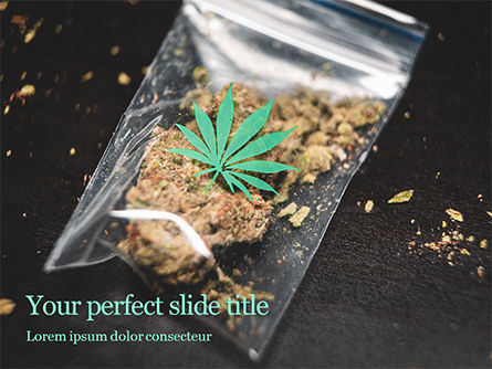 Medical: cannabis on plastic bag - PowerPointテンプレート #16148
