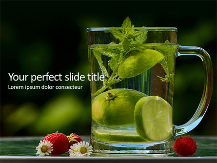 Food & Beverage: Modello PowerPoint Gratis - Mint and lime in glass jug of water #16157