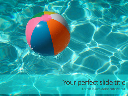 Sports: an inflatable beach ball in swimming pool - 無料PowerPointテンプレート #16162