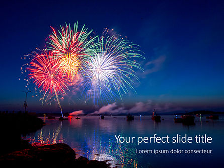 Holiday/Special Occasion: Modello PowerPoint - Fireworks in a harbor #16166