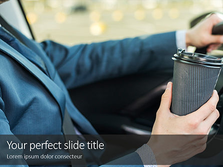 People: A Businessman Drinking Coffee While Driving A Car PowerPoint Template #16180