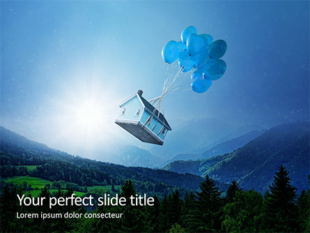 Nature & Environment: Plantilla de PowerPoint gratis - flying wooden house in the blue sky #16189