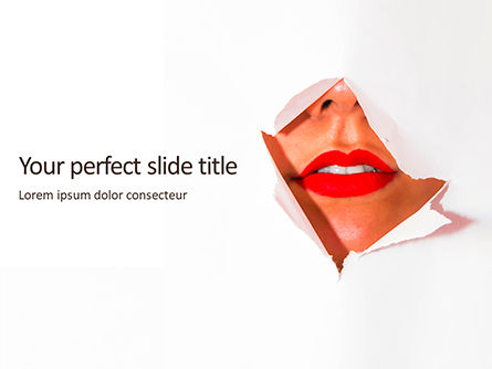 People: Modello PowerPoint Gratis - Ripped white paper showing woman's lips #16209