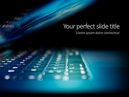 Technology and Science: Close-up Laptop Keyboard Illuminated On Night Gratis Powerpoint Template #16214