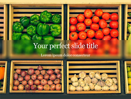 Food & Beverage: assorted vegetables on brown wooden crates - 無料PowerPointテンプレート #16222