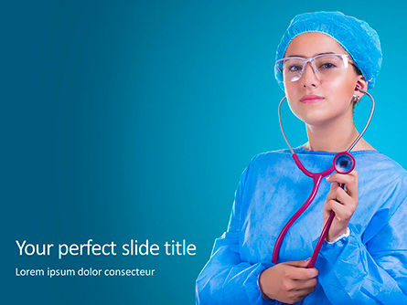 Medical: Cheerful Woman Physician in Blue Coat Against Turquoise Background Presentation #16250