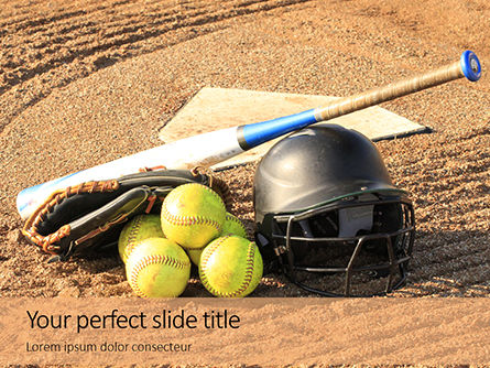 Sports: Modello PowerPoint - Softball bat helmet and glove on base #16252