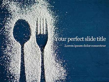 Food & Beverage: Top view of cutlery silhouette made with flour PowerPoint Vorlage #16255