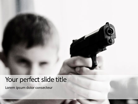 People: Young Boy Holding A Toy Gun Gratis Powerpoint Template #16260