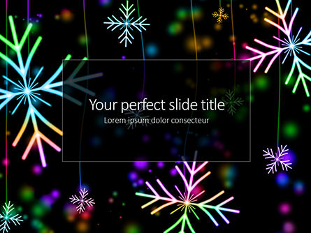 Holiday/Special Occasion: Falling Colored Snowflakes Winter Background Presentation #16277