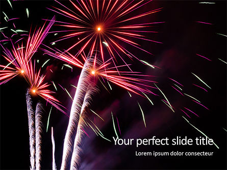 Holiday/Special Occasion: Colorful Fireworks Over The Night Sky PowerPoint Template #16288