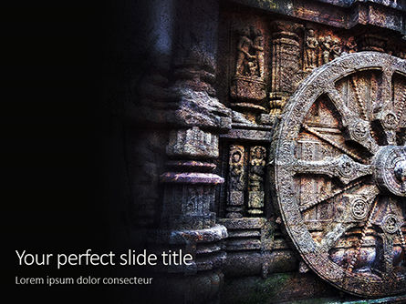 Art & Entertainment: Ashoka Chakra At The Konark Sun Temple Gratis Powerpoint Template #16291