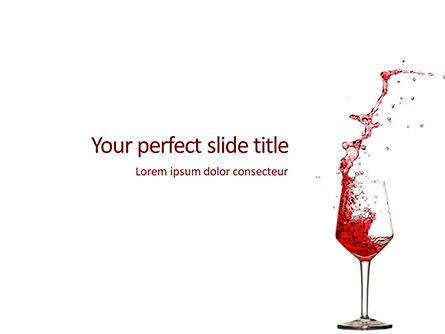 Food & Beverage: Templat PowerPoint Splash Of Red Wine In A Crystal Glass On White Background #16299