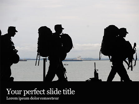 Military: Marines soldiers silhouettes免费PowerPoint模板 #16305