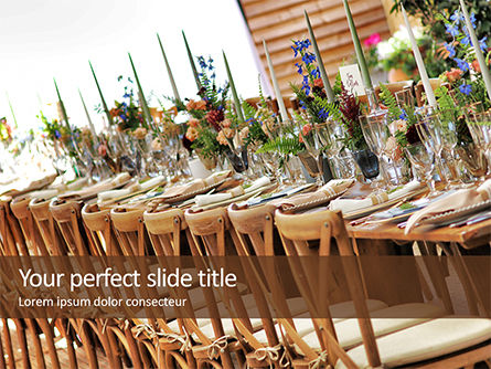 Holiday/Special Occasion: Wooden Dining Table with Flowers Decoration and Tableware Set Presentation #16307