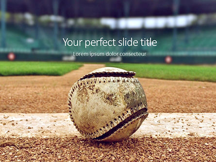 Sports: Modello PowerPoint Gratis - Baseball on infield chalk line #16312