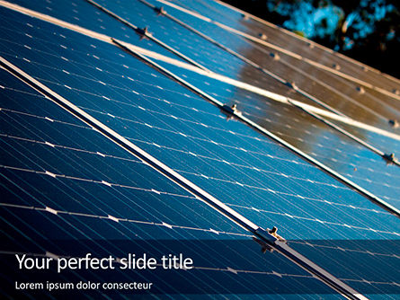 Technology and Science: Blue Solar Panels Gratis Powerpoint Template #16321