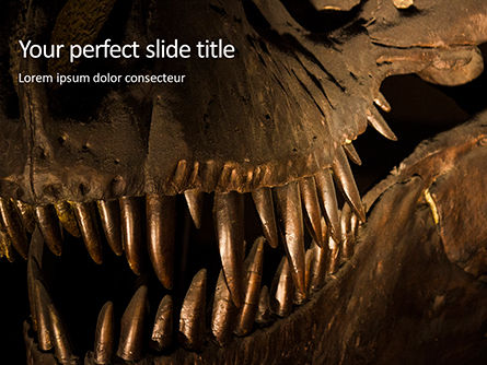 Technology and Science: close up of giant dinosaur or t-rex skeleton - 無料PowerPointテンプレート #16326