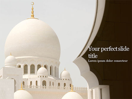 3D: Abu Dhabi Sheikh Zayed White Mosque PowerPoint Template #16329
