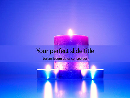 Holiday/Special Occasion: Modelo de PowerPoint Grátis - blue and purple candles #16333