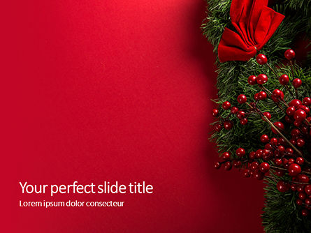 Holiday/Special Occasion: Plantilla de PowerPoint - christmas and new year red background #16335