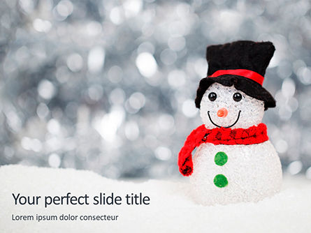 Holiday/Special Occasion: Plantilla de PowerPoint gratis - snowman against blurred festive bokeh background #16336