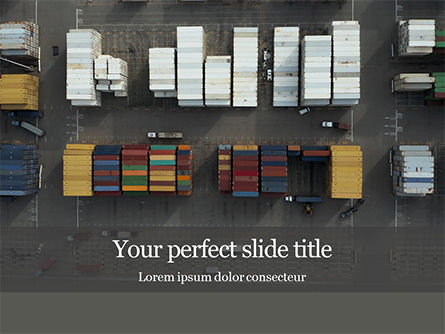 Cars and Transportation: Aerial View Of Shipping Containers PowerPoint Template #16343
