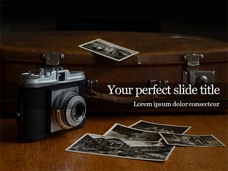 General: vintage photo camera beside photos - 無料PowerPointテンプレート #16346