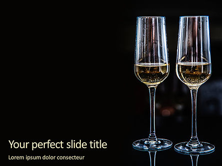 Food & Beverage: Modelo do PowerPoint - two glasses of sparkling wine #16350
