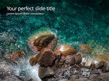 Nature & Environment: Aerial View of Sea Waves and Fantastic Rocky Coast Presentation #16354