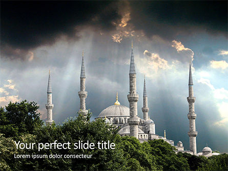 Construction: Suleymaniye mosque under dramatic sky PowerPoint Vorlage #16359