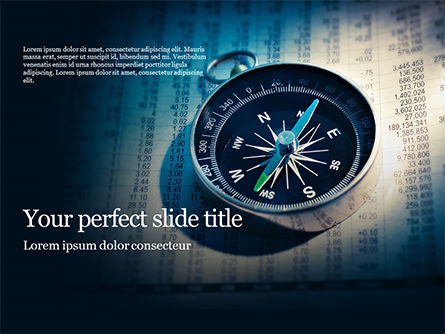 Financial/Accounting: financial newspaper and compass - PowerPointテンプレート #16360