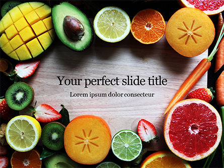 Food & Beverage: Templat PowerPoint Gratis Slices Of Fruits And Vegetables #16361