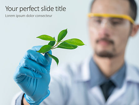 Technology and Science: scientist is examining samples of plants - PowerPointテンプレート #16364