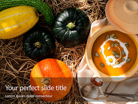 Food & Beverage: Vegetarian Autumn Pumpkin Cream Soup Presentation #16365