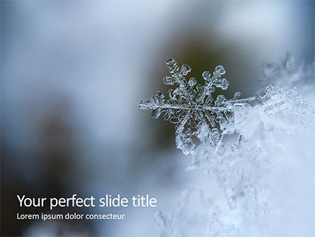 Nature & Environment: closeup of a snowflake - 無料PowerPointテンプレート #16368