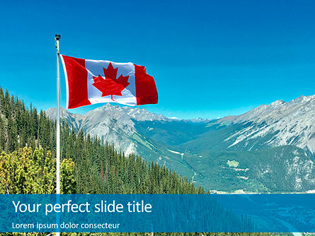 Nature & Environment: national flag of canada flying on the top of sulphur mountain - 無料PowerPointテンプレート #16370