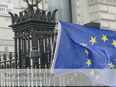 General: European Union Flag Flying On Downing Street Gratis Powerpoint Template #16374
