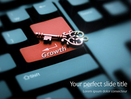 Business Concepts: Keyboard with Key and Growth Word Presentation #16376