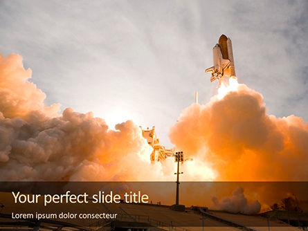 Technology and Science: Space Shuttle Lifting Off Gratis Powerpoint Template #16382